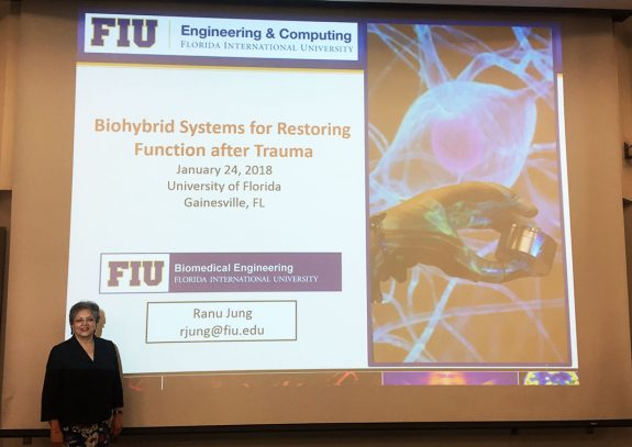 """Dr. Ranu Jung, an international leader in biomedical engineering, presented her talk, """"Biohybrid systems for restoring function after trauma"""" for the Rehabilitation Science Seminar series last week."""